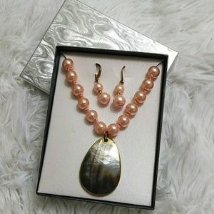 Jewelry - Pink Faux Pearl Necklace & Earring Set